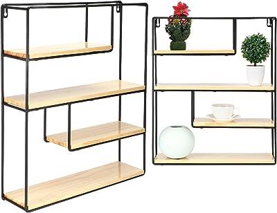 GOTOTOP Mensola sospese da parete a 4 livelli, moderna, scaffale decorativo in MDF e ferro, per soggiorno, camera da letto, ufficio e cucina, 55 x 45 x 11 cm