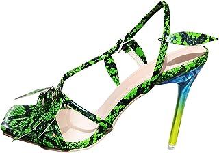 Damessandalen met hoge hak, pumps, hoge hakken, slangenhuidpatroon, slingback, peep toe sandalen, zomer, outdoorsandalen.