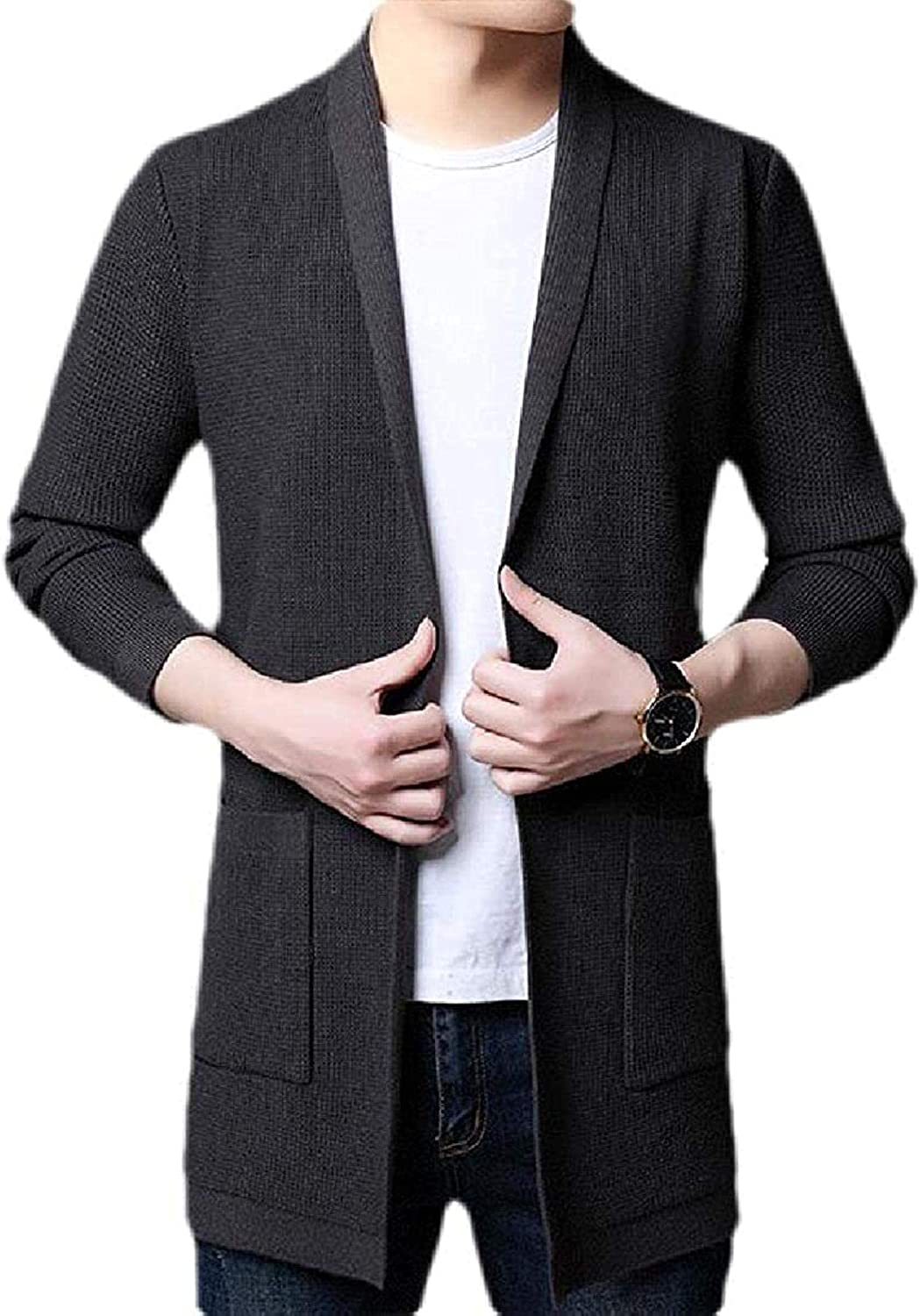 Hoolep Men Shawl Collar Open Front Knitted Fashion Slim Fit Cardigan Sweater
