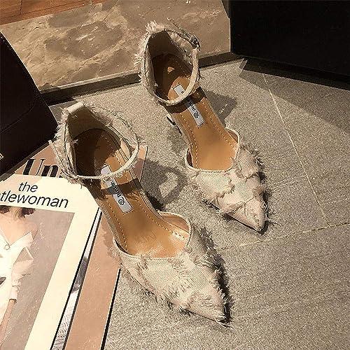 WUWUKAI Chaussures à Talons Femme d'été Pointu Bouche Peu Profonde Boucle de Mot Sauvage avec des Sandales Stiletto