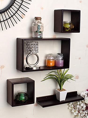 Antique Wood Hub MDF Cube and Rectangle Wall Shelf for Living Room and Bedroom and Home Decor Floating Shelves Brown Standard Size Set of 4