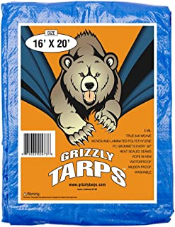B-Air Grizzly Tarps 16 x 20 Feet Blue Multi Purpose Waterproof Poly Tarp Cover 5 Mil Thick 8 x 8 Weave