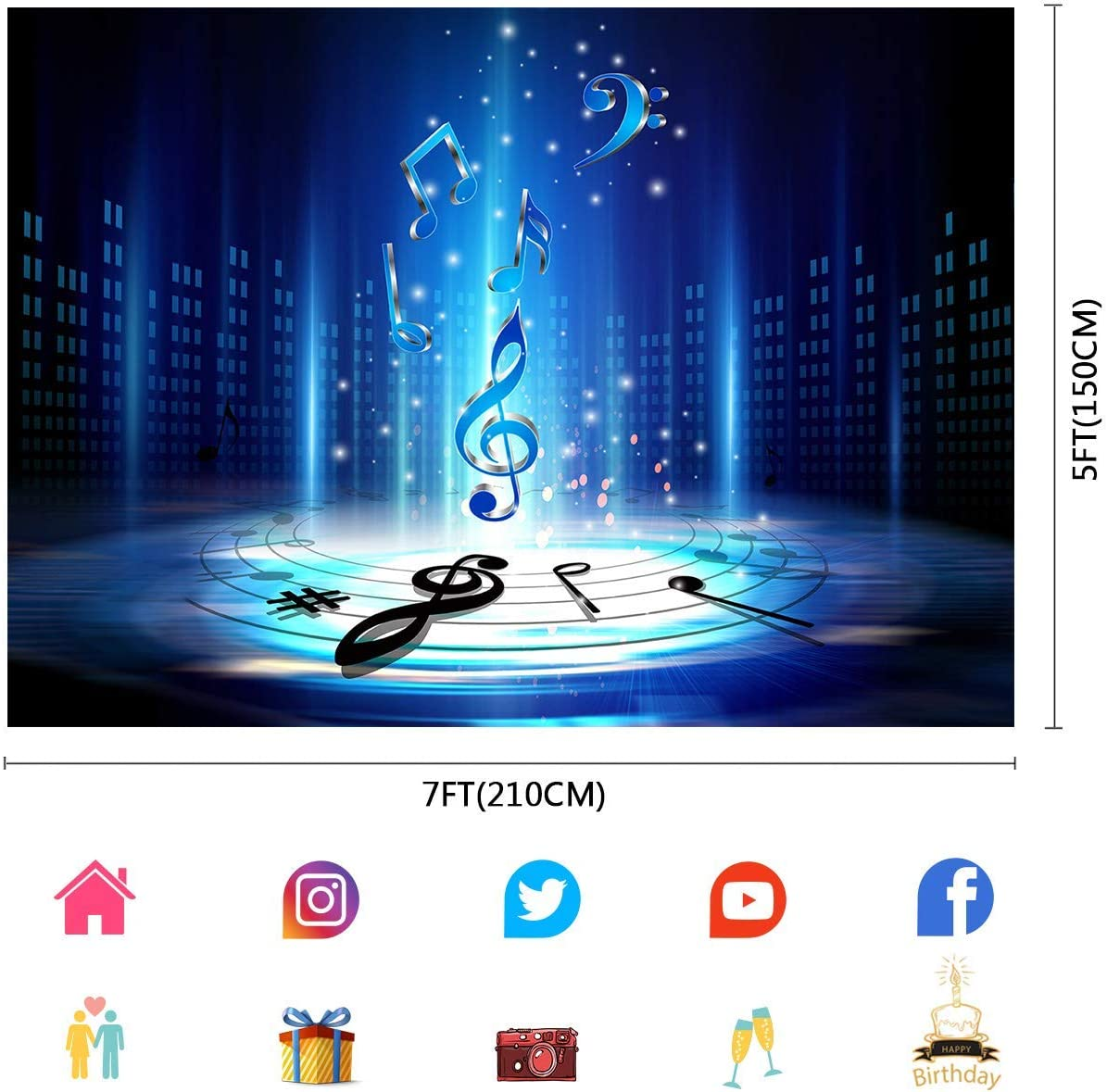 15x10ft Music Themes Background Photography Backdrop for Music Party Photo Booth Props DSFU193