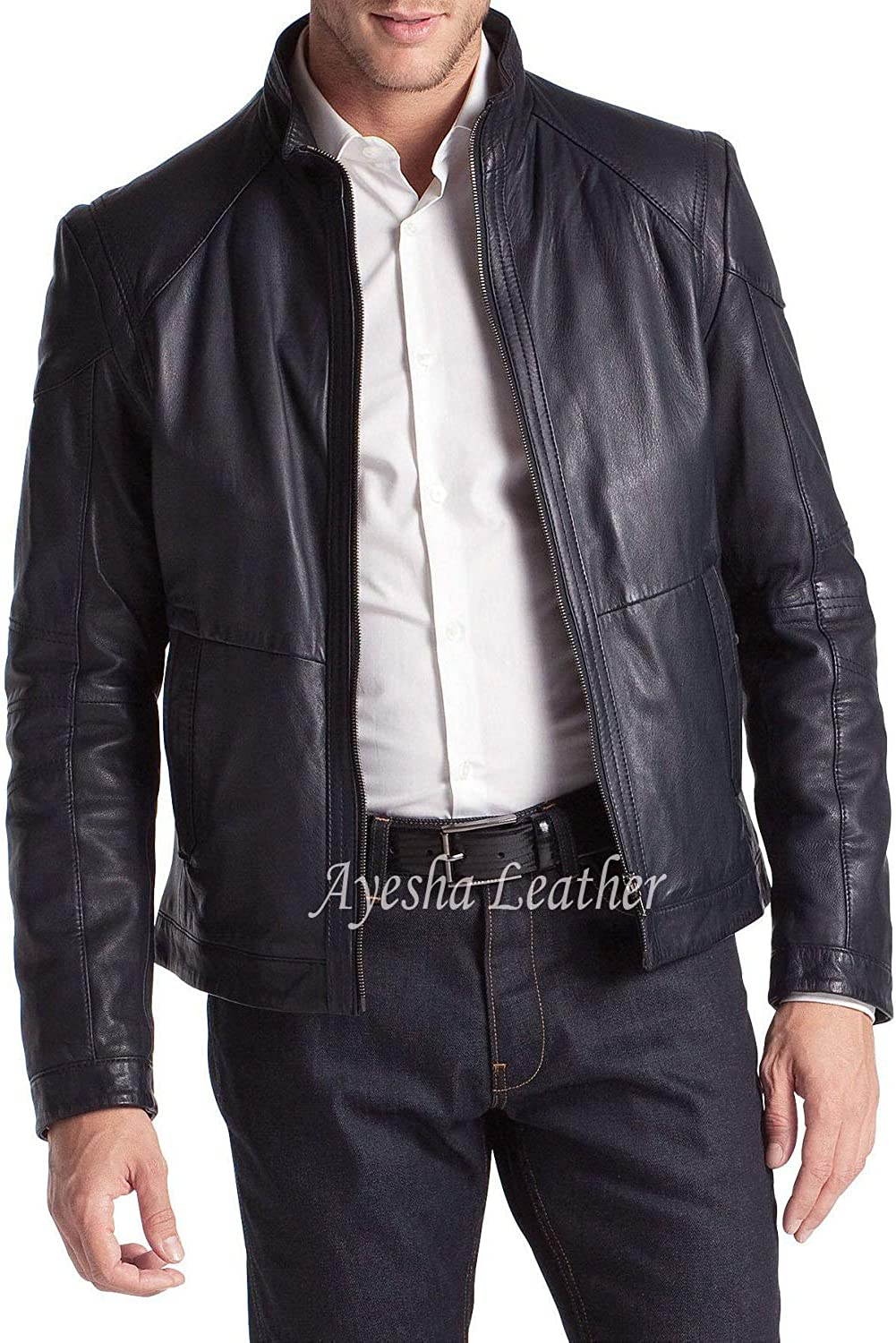 eafc1f651 Mens Leather Jackets Motorcycle Bomber Bomber Bomber Biker Genuine ...