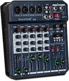 Depusheng T6 - Mezclador de audio portátil de 6 canales para tarjetas de sonido integrado 16 DSP 48 V Phantom Power soporta conexión BT MP3