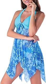 ANGGREK Women Tankini Swimdress Halter Floral Swimsuit Two Piece Swimwear
