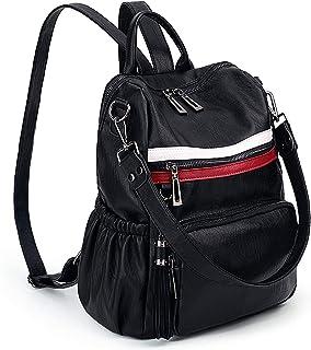 Rucksack Damen UTO PU gewaschen Leder Cabrio Damen Rucksack Quaste Reißverschluss Tasche Umhängetasche schwarz und Rot