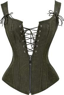 Women's Renaissance Lace Up Vintage Boned Bustier Corset with Garters