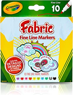 Crayola Fabric Line Markers, Fine Tip, Assorted Colors, Set of 10