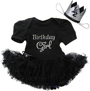Kirei Sui Baby 1st First Birthday Black Bodysuit Tutu Crown Headband