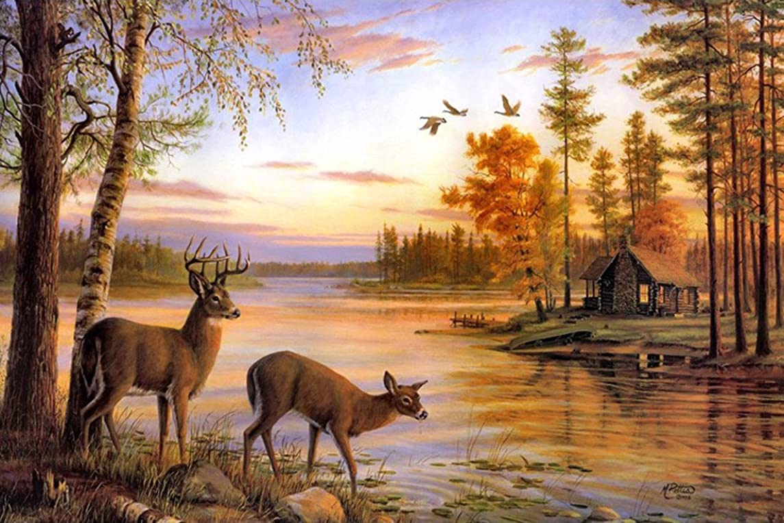 21secret 5D Diamond Diy Painting Full Drill Handmade White Tailed Deer Couple Drink Water Forest Lake Cross Stitch Home Decor Embroidery Kit