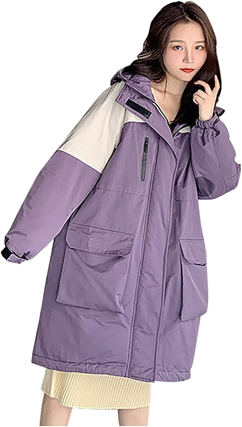 Womens Winter Coats Colorblock Hoodie Thick Quilted Jackets Coats Frock Knee-Length Parka Windbreaker Jacket