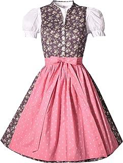 BERWIN & WOLFF TRACHT FOLKLORE LANDHAUS Dirndl midi 60 cm Breitfeld mit Schürze in lila rosa Gemustert Set 3-teilig - Größe 34-46