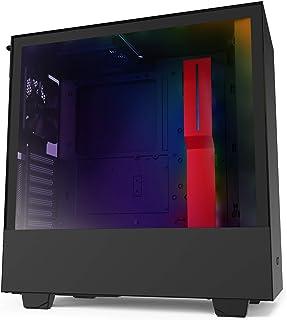 NZXT H510i - Caja PC Gaming Semitorre Compacta ATX - Panel frontal E/S Puerto USB de Tipo C - Montaje Vertical de la GPU - Panel Lateral de Cristal Templado - Iluminación RGB integrada -  Rojo/Negro