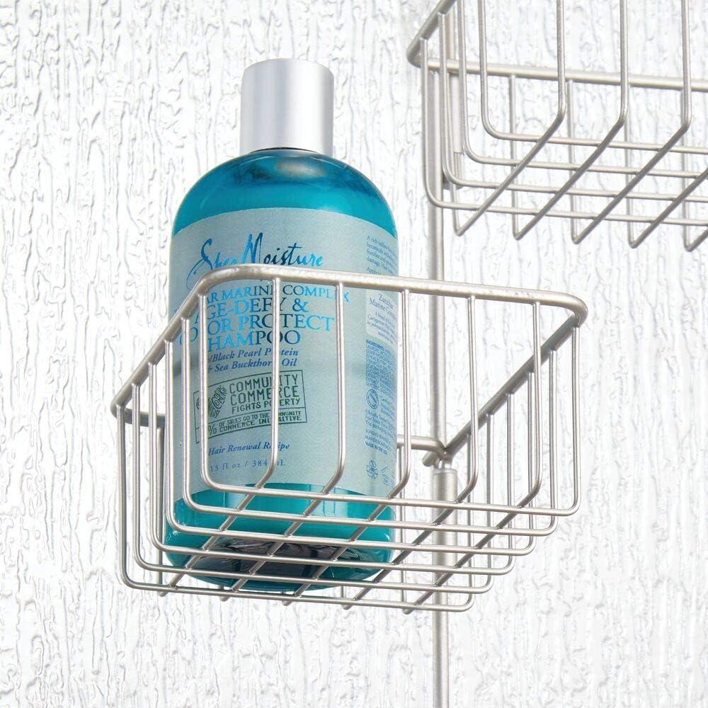 /étag/ère de douche en m/étal /à quatre paniers deux crochets et une tige pour gants de toilette mDesign panier de douche /à suspendre rangement de douche pratique sans per/çage couleur argent/&ea