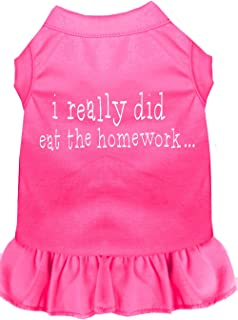 Mirage Pet Products 57-47 XXXLBPK Pink I really did eat the Homework Screen Print Dress Bright, 3X-Large