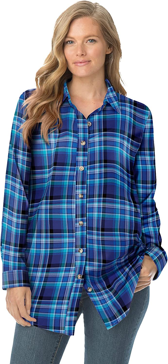 Woman Within Women's Plus Classic Our shop OFFers the best service Size Flannel Shirt Special price