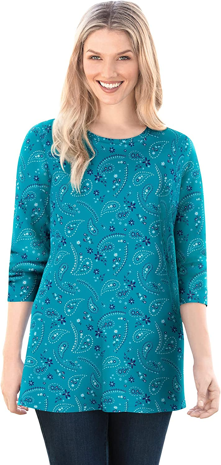 Woman Within Women's Plus Size Perfect Printed Long-Sleeve Crewneck Tee Shirt