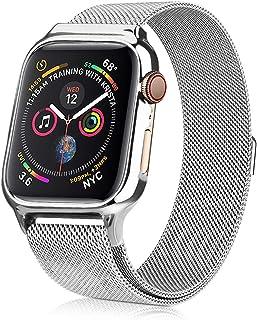 XIHAMA コンパチブル Apple Watch Series4 バンド 専用 ステンレス アップルウォッチ ミラネーゼループ 保護ケース付き 高級感 長さ調節可能 マグネット留め金 (Apple Watch 44MM, Silver)