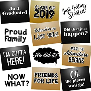 8a9be094642 Class of 2019 Funny Graduation Photo Booth Props Kit Party Signs - Set of  12