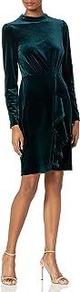 Karl Lagerfeld Paris Women's Mock Neck Ruffle Stretch Velvet Sheath