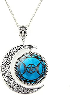 Triple Moon Goddess Moon Necklace Triple Moon Goddess Key Locket Necklace
