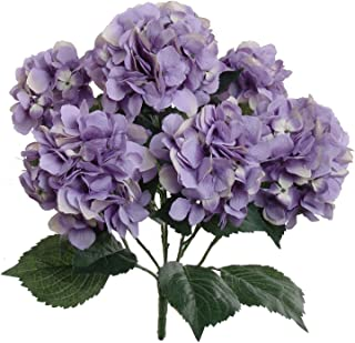 Hydrangea Silk Flowers Plant, Lavender, Indoor Home Decoration, Outdoor Plant, Wedding, Centerpieces, Bouquets, Artificial Hydrangeas Bush with 7 Large Gorgeous Bloom Clusters, Leaves, Stems