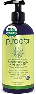 PURA D'OR USDA Organic Aloe Vera Gel, Lemongrass Scent (16oz) Deeply Hydrating, Moisturizing Skin & Hair - Sunburn, Bug Bites, Rashes, Small Cuts, Eczema, Psoriasis & Rosacea Care (Packaging varies)