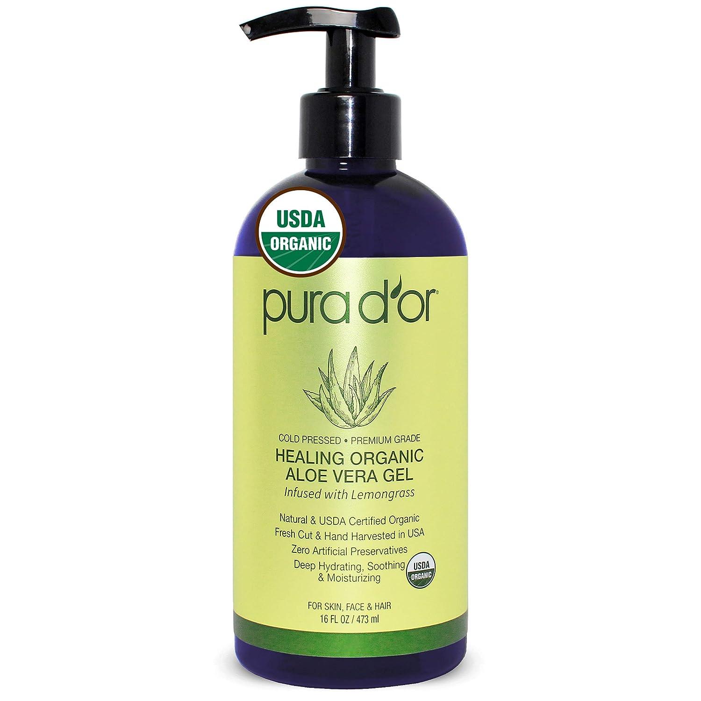 PURA D'OR USDA Organic Aloe Vera 16oz New York Mall Gel Scent Lemongrass Max 42% OFF De