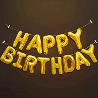 Novelty Place Happy Birthday Balloons Banner - Large Inflatable Aluminum Foil 3D Letters Banners for Kids and Adults Birthday Party Supplies and Decorations - Gold