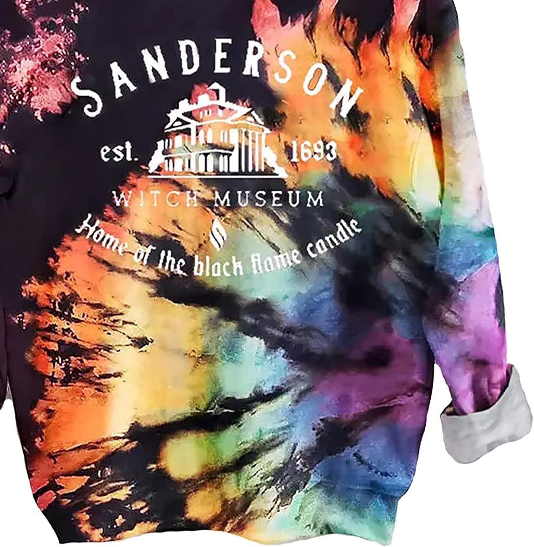 Halloween Sweatshirt for Women Sanderson Witch Museum Graphics Pullover Shirts Tops Reverse Tie Dye Rainbow Sweatshirt