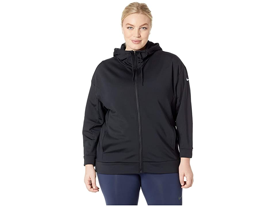 Nike Therma All Time Full Zip Hoodie (Sizes 1X-3X) (Black/White) Women