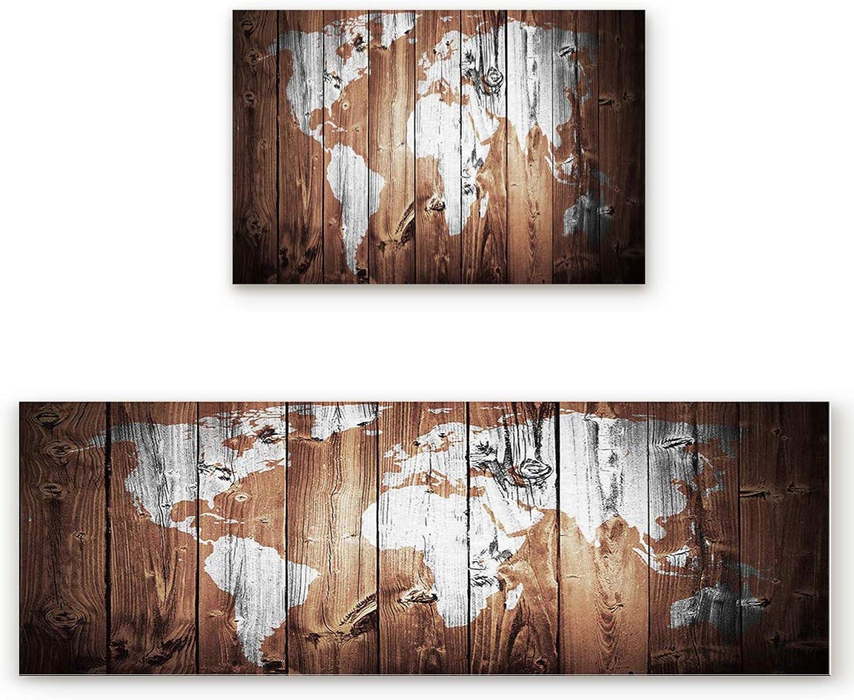 Savannan 2 Piece Non-Slip Kitchen Bathroom Entrance Mat Absorbent Durable Floor Doormat Runner Rug Set - Antique Old World Map on Wood Plank in Retro color