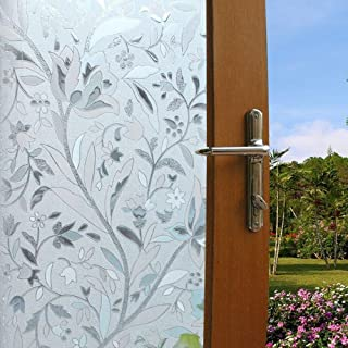 Vakker Bahay Plastic Non Adhesive Flower Privacy Window Film Front Sliding Door Privacy Glass Film Home Office Shower No Glue Static Cling DIY UV Anti Window Film,23.6 by 78.7 Inches
