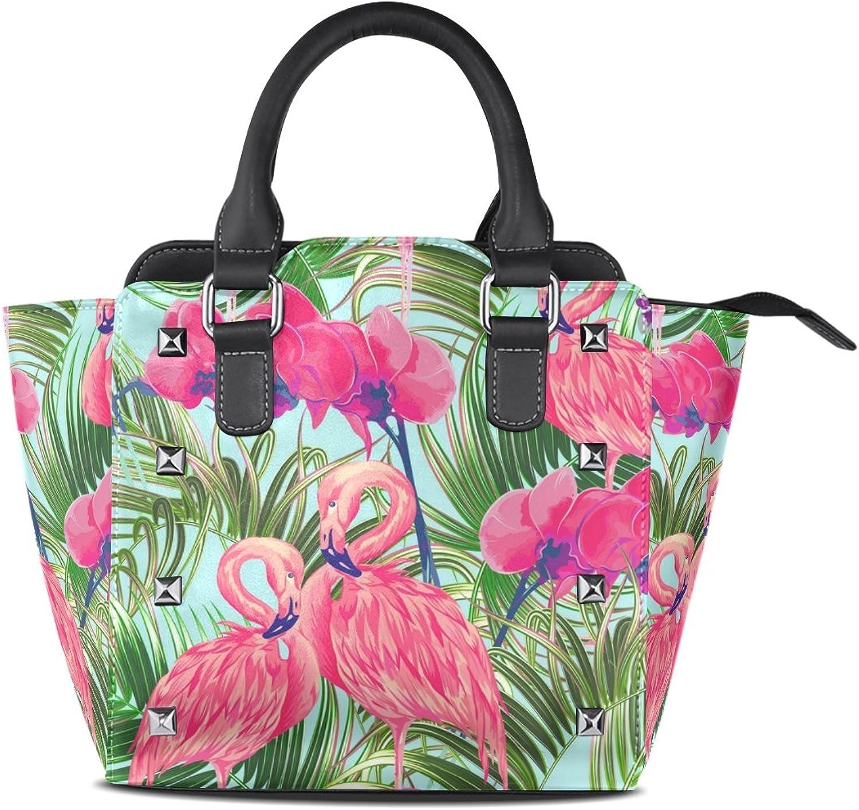My Little Nest Women's Top Handle Satchel Handbag Tropical Flowers Pink Flamingoes Ladies PU Leather Shoulder Bag Crossbody Bag