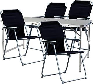 Mojawo Juego de muebles de camping de 5 piezas, aluminio, 120 x 60 x 58/70 cm, 1 mesa de camping XXL con asa y 4 sillas de camping de tela negra Oxfort