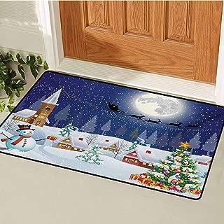GUUVOR Christmas Commercial Grade Entrance mat Winter Season Snowman Xmas Tree Santa Sleigh Moon Present Boxes Snow and Stars for entrances garages patios W23.6 x L35.4 Inch Blue White