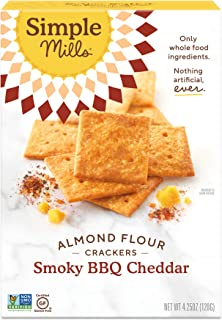 Simple Mills Almond Flour Crackers, Smoky BBQ Cheddar, Gluten Free, Flax Seed, Sunflower Seeds, Corn Free, Good for Snacks, Made with whole foods, (Packaging May Vary)