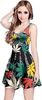 Womens Marijuana Cannabis Leaf Plant Marihuana Leaves Sleeveless Dress, XS-5XL