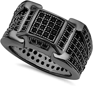 The Bling Factory Black Plated Micro-Pave Iced Out Cubic Zirconia Band Ring + Microfiber