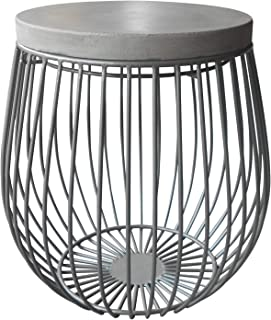 """S'DENTE Modern Stone/Concrete Top Iron Metal 17"""" Round Accent Side Table"""
