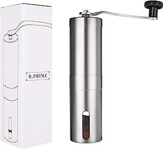 B.PRIME Manuell kaffekvarn med keramiskt kvarnverk – Handkaffekvarn i rostfritt stål med steglös justering