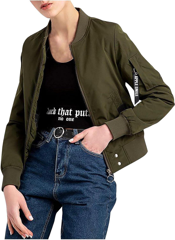 Women's Sweatshirt Button Slim Zipper Long Sleeve Bomber Jacket Warm Coat Tops