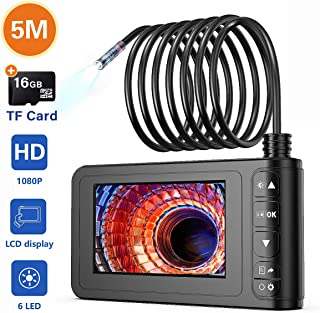 Industrial Endoscope, SKYBASIC 1080P HD Digital Borescope Camera Waterproof 4.3 Inch LCD Screen Snake Camera Video Inspection Camera with 6 LED Lights, Semi-Rigid Cable, 16GB TF Card and Tool (16.5FT)