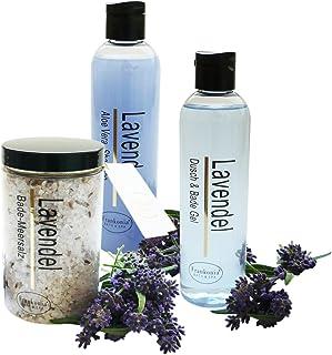 Lashuma Pflegeset Damen Lavendel im 3er Set Duschgel & Badezusatz Shampoo 2 x 250 ml und Badesalz 450 g als Geschenkset