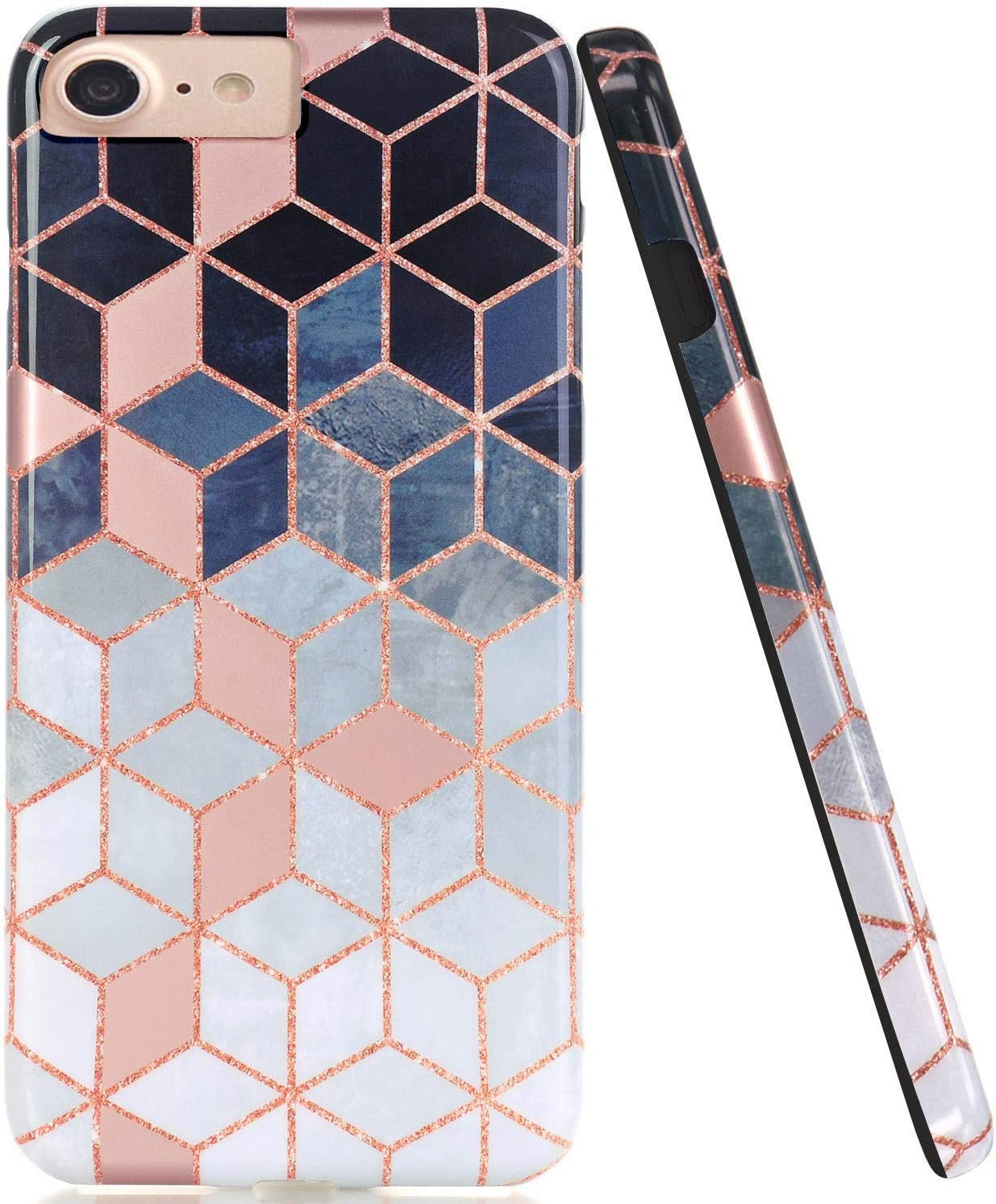 JAHOLAN Bright Rose Gold Cube Design Black Bumper Glossy TPU Soft Rubber Silicone Cover Phone Case Compatible with iPhone 7 iPhone 8 iPhone 6 6S iPhone SE 2020