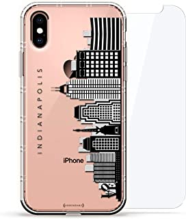 Landmarks: Los Angeles Hollywood Black & White Skyline   Luxendary Air Series 360 Bundle: Clear case with 3D-Printed Design & Air Cushions + Tempered Glass for iPhone Xs Max