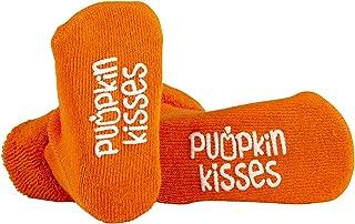 Unisex Children's Halloween Orange Pumpkin Kisses Cotton Crew Socks, Size 3-12 months