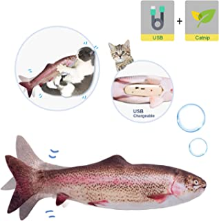 """Potaroma 10"""" Electric Moving Cat Kicker Fish Toy, Realistic Flopping Fish, Wiggle Fish Catnip Toys, Motion Kitten Toy, Plush Interactive Cat Toys, Fun Toy for Cat Exercise …"""