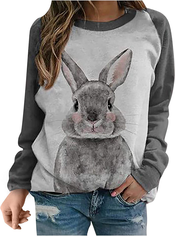 Women's Cute Rabbit Print Shirt Long Raglan Sleeves Tops Casual Loose Lightweight Bunny Graphic Easter Pullover Sweatshirt